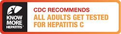 "Logo for Know More Hepatitis campaign on a left-side bar. The reast reads, ""CDC recommends all adults get tested for hepatitis C""."