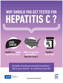 "Icon of poster that reads, ""Why should you get tested for hepatitis C?"""