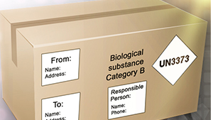 Labeled package for shipping hazardous material