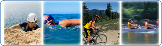 Images of people rock climing, swimming, biking and rowing.