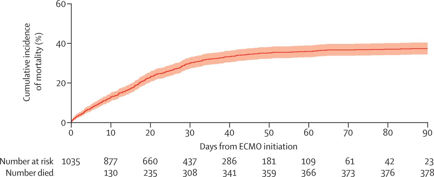 Cumulative incidence of mortality from time of ECMO initiation.