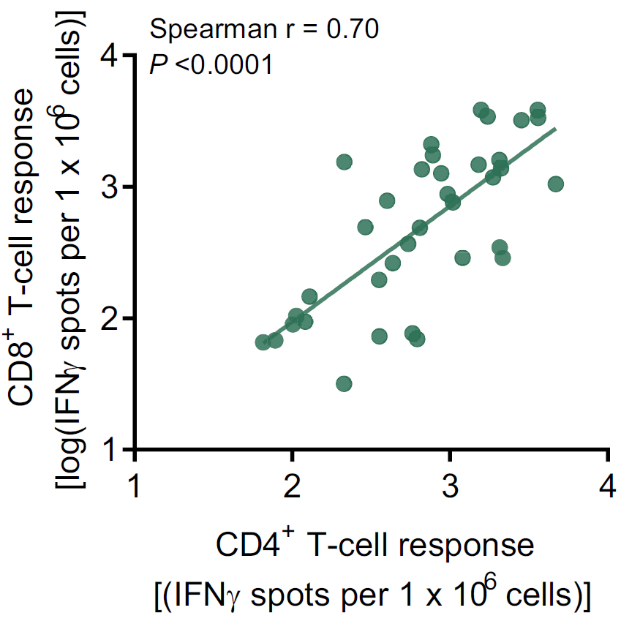 Correlation of CD4+ with CD8+ T-cell responses from blood collected on day 29 in all immunized patients.