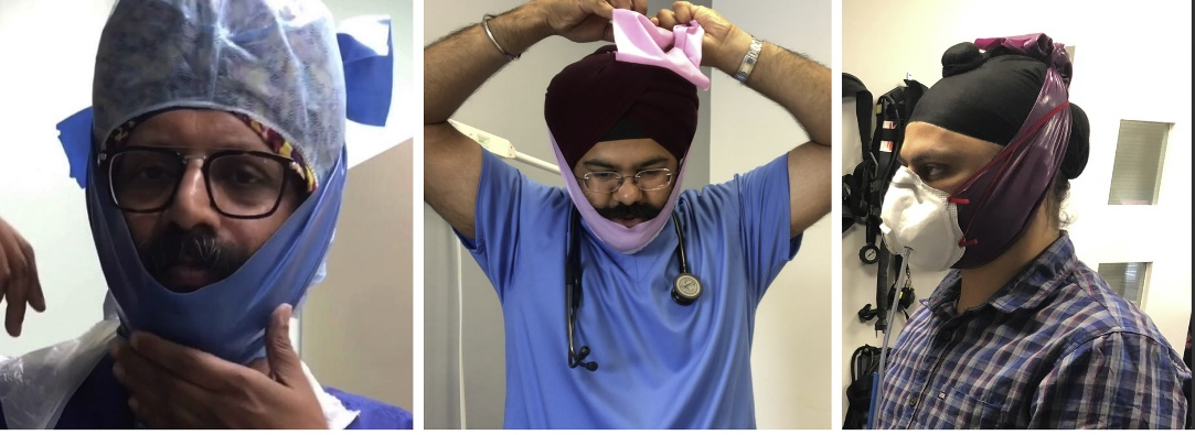 The Singh Thattha technique to secure respirators over a beard.