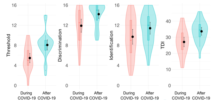 Results of olfactory testing during and after COVID-19. TDI, a composite of the olfactory threshold (T), odor discrimination (D) and odor identification (I) score.