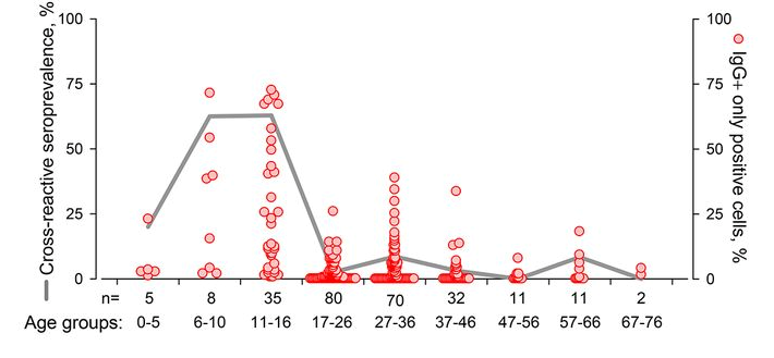 Figure shows prevalence of SARS CoV-2 S-cross-reactive antibodies in age groups and frequency of cells expressing spike protein.