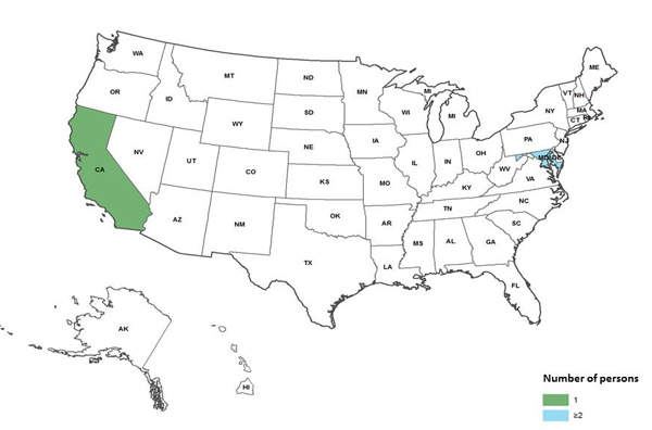 Persons infected with the outbreak-associated strain of Listeria monocytogenes, by state as of February 21, 2014