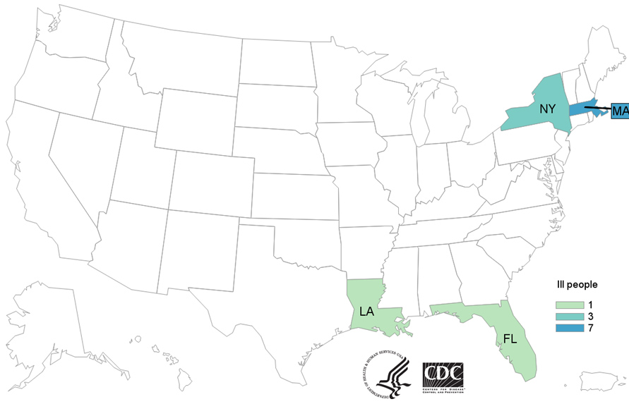 Map of United States - People infected with the outbreak strain of Listeria, by state of residence, as of January 28, 2021.