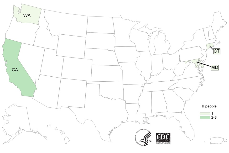 Map of persons infected with the outbreak strain of Listeria monocytogenes, by state of residence, as of July 11, 2016