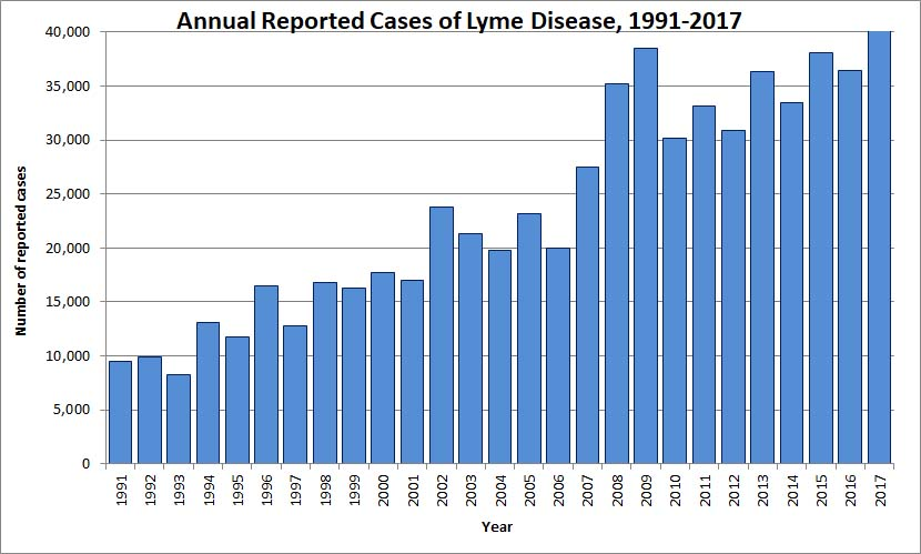 Graph showing Annual Reported Cases of Lyme Disease from 1991-2017