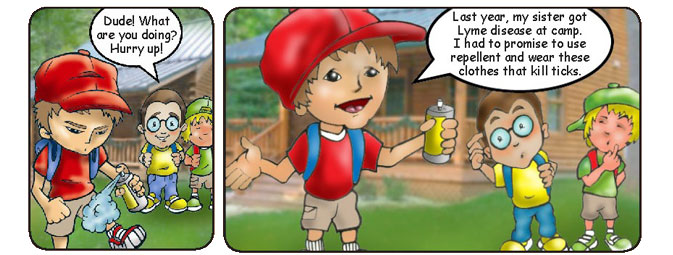 Comic with a boy spraying himself with bug repellent
