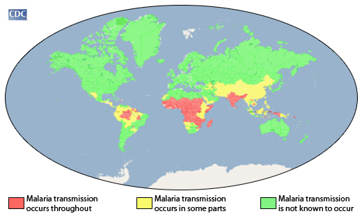 CDC map. Concentrations of malaria transmission worldwide.