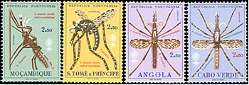 4 stamps showing mosquitoes, from Mozambique, S Tome and Principe, Angola, and Cabo Verde