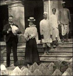 Photograph of Sir Ronald Ross, Mrs. Ross, Mahomed Bux and laboratory assistants at the laboratory in Calcutta.