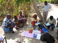 IMPACT Tz team members conducting a household survey in Rufiji District