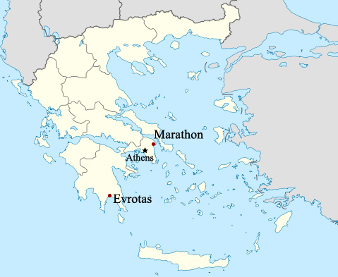 A map of Greece showing the locations of Evrotas, Athens and Marathon.