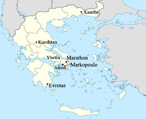 A map of Greece showing the locations of Athens, Evrotas, Karditsa, Markopoulo, Marathon, Viotia region, and Xanthi.