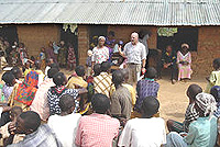 Tom Miller conducting Sunday school in Nigeria, December 2004.