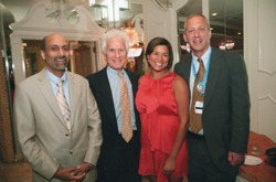Kelly and members of the team at Cohen Children's Medical Center who directed her care: (L–R): Dr. Sunil Sood, Pediatric Infectious Disease Specialist, Dr. Jeffrey Lipton, Chief, Hematology/Oncology and Stem Cell Transplantation, and Dr. Peter Silver, Chief, Pediatric Critical Care Medicine.