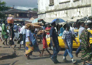 Street scene in Freetown, the capital of Sierra Leone