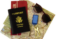 An image of a passport and a map