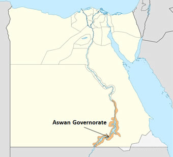 A map of Egypt showing the location of Aswan Governorate (source: www.wikipedia.org)
