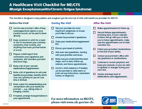 Thumbnail of a Healthcare Visit Checklist for ME/CFS