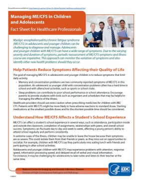 Managing ME/CFS in Children and Adolescents Fact Sheet for Healthcare Professionals
