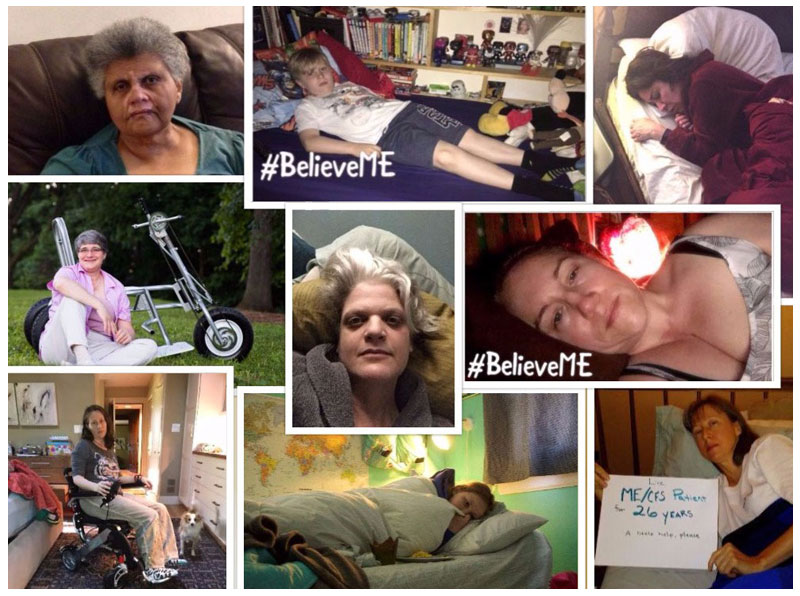 ME-CFS collage-- image of many people suffering from Myalgic Encephalomyelitis/Chronic Fatigue Syndrome (ME/CFS)