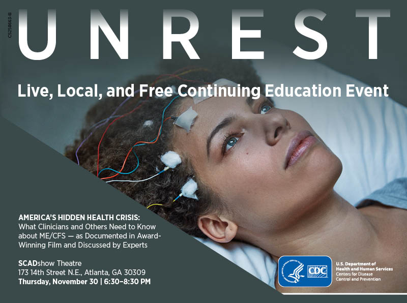 Unrest movie, women with electrode on her head. Live, local and free continuing education event poster.