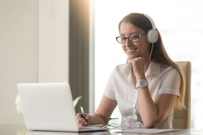 Young woman participating in a webinar conference call