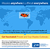 Measles importation infographic: Map of the world with arrows from Asia, Africa, and Europe pointing to the US. When measles happens anywhere in the world, it can travel to the US and spread. Make sure you and your family members are up to date on your measles-mumps-rubella (MMR) vaccine, including before traveling abroad. Ask your doctor if everyone has received all recommended doses of MMR for best protection against measles. Get vaccinated; prevent and stop measles outbreaks. http://www.cdc.gov/features/measlesinternationaltravel/