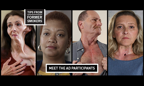 4 images of former smokers, with label stating 'meet the ad participants'
