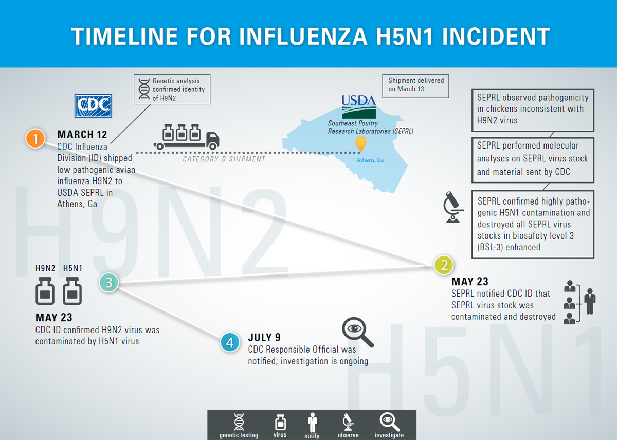 TIMELINE FOR INFLUENZA H5N1 INCIDENT