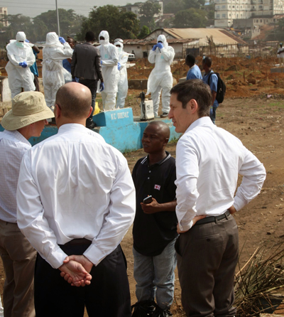 Dr. Frieden tours King Tom Cemetery in Sierra Leone, where safe and dignified burials are taking place.