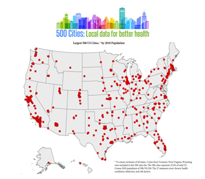 Infographic showing US map with dots depicting the 500 largest cities based on 2010 population