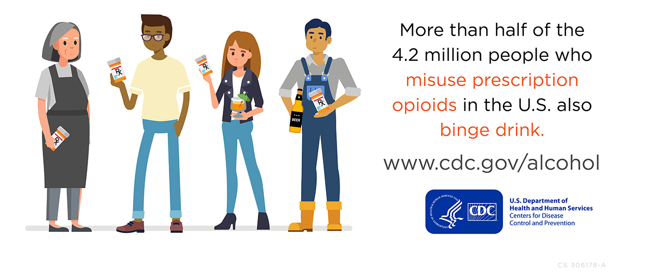 More than half of the 4.2 Million people who misuse prescription opioids in the U.S. also binge drink.