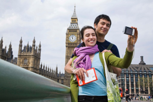 A couple taking a photo in front of Big Ben in London
