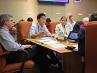 Dr. Benjamin Park, Surveillance Team Lead, updates the Incident Manager and colleagues on CDC activities in response to the 2012 fungal meningitis outbreak.