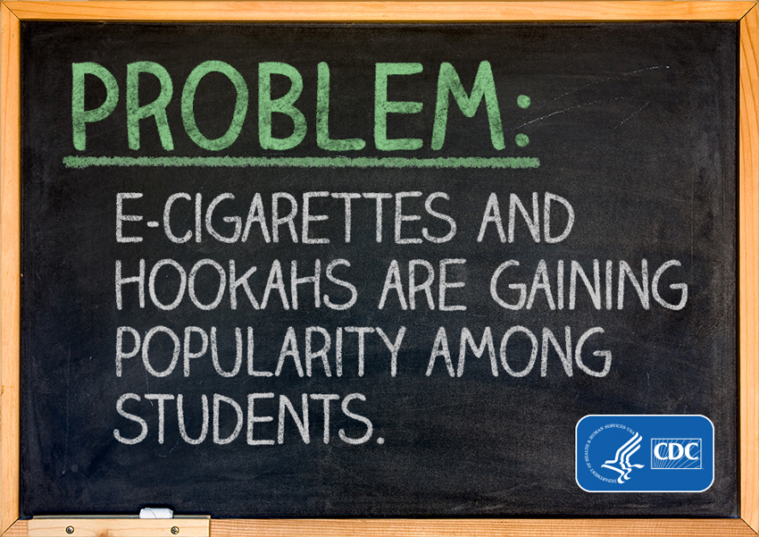 Infographic -  Problem: e-cigarettes and hookahs are gaining popularity among students