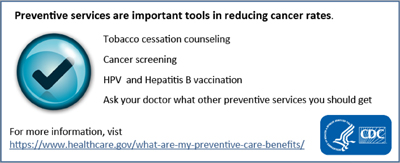 Preventive Services are important tools in reducing cancer rates.