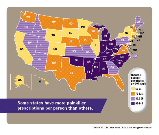 Health care providers in some states prescribed far more painkillers than those in other states.