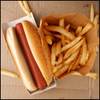 A hot dog and french fries