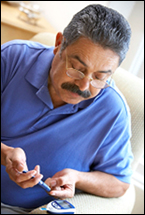 A man checks his blood-sugar levels