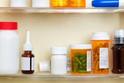 Assorted medications on a shelf