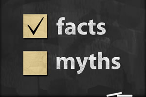 chalkboard with wording facts, myths, with a check mark next to facts