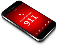 mobile phone with 911 emergency dial screen