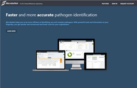image of MicrobeNet homepage
