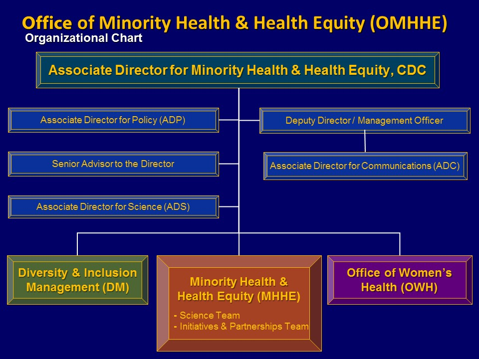 OMHHE Organizational Chart. Top, Associate Director, OMHHE. Next Associate Director for Policy (ADP), Senior Advisor to the Director, Associate Director for Science (ADS), Deputy Director/Management Officer, who is over Associate Director for Communications (ADC). Next, still under Top, Diversity & Inclusion Management (DM), Office of Women's Health (OWH), Minority Health & Health Equity (MHHE), who is over Science Team & Initiatives and Partners Team.