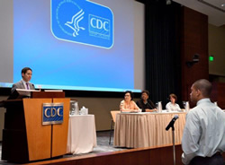 CDC Director Tom Frieden, MD, MPH, welcoming students to CDC and to public health.  Also pictured (left to right): Sam Gerber, CUPS Project Officer, Dr. Leandris Liburd, OMHHE Director, Dr. Kathleen Ethier, OADPG Acting Associate Director. Photo Credit: James Gathany, CDC.
