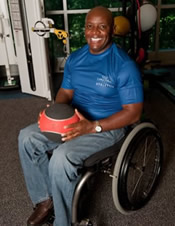 African-American man using a wheelchair